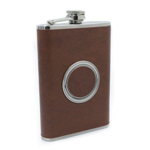 brown-hidden-shot-glass-8oz-hip-flask-1