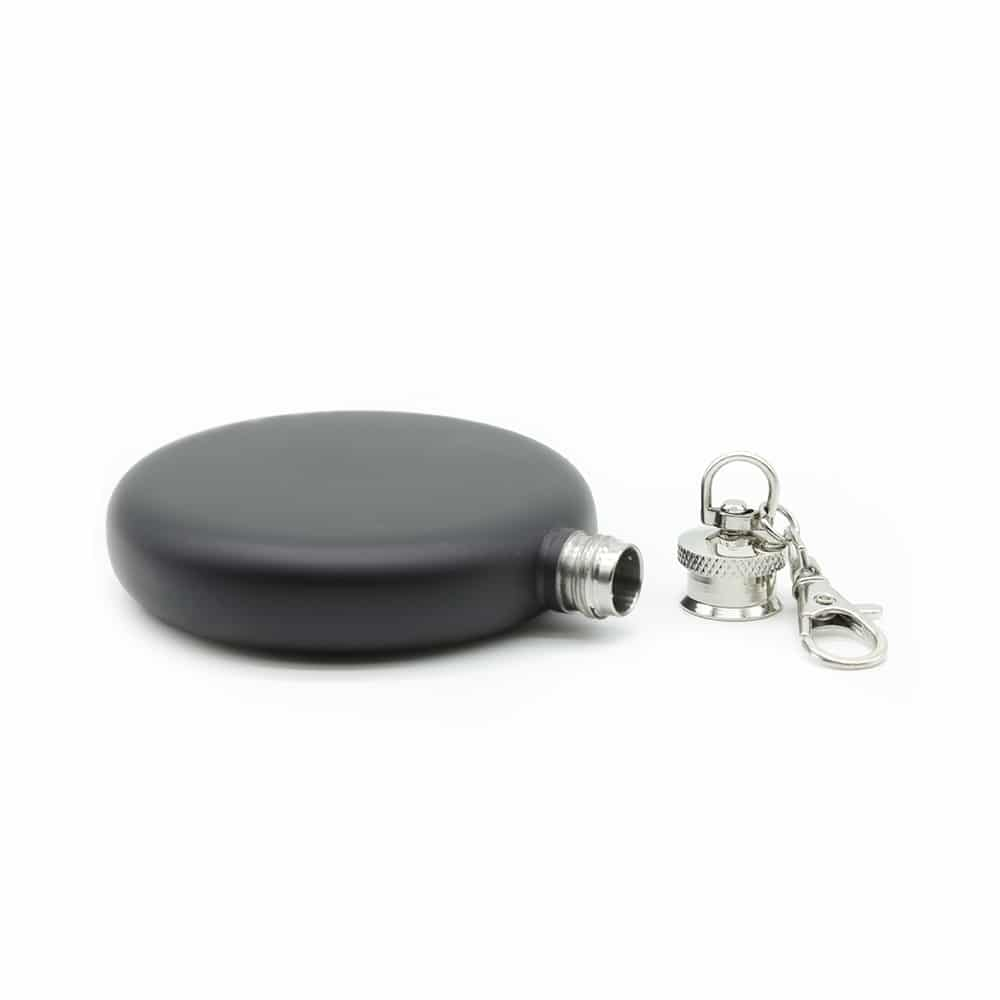 round-black-3oz-hip-flask-w/-keychain-2