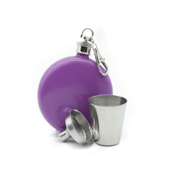 round-lavender-3oz-hip-flask-w/-keychain-1